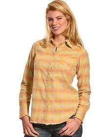 Ryan Michael Women's Vintage Ombre Plaid Shirt
