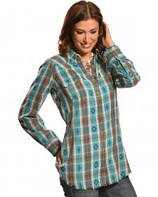 Ryan Michael Women's Vintage Dobby Plaid Tunic
