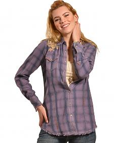 Ryan Michael Women's Embroidered Indigo Plaid Shirt