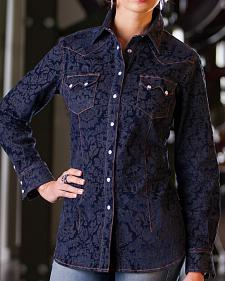 Ryan Michael Women's Jacquard Denim Shirt