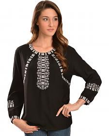 Red Ranch Women's Black & White Embroidered Peasant Blouse