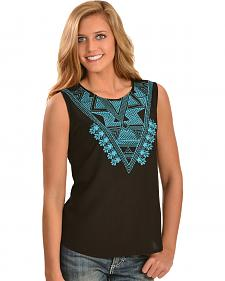 Red Ranch Women's Turquoise Embroidered Sleeveless Top