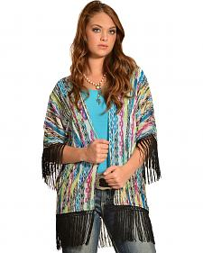 Wrangler Rock 47 Women's Multicolor Tribal Fringe Kimono Cardigan