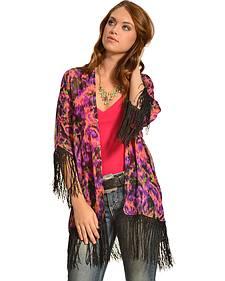 Wrangler Rock 47 Women's Multicolor Ikat Fringe Kimono Cardigan