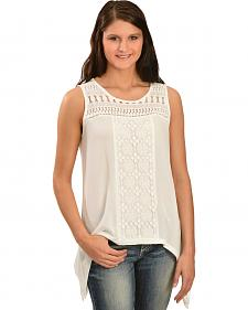 Wrangler Women's Sleeveless Lace Sharkbite Top