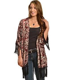 Red Ranch Women's Filigree Fringe Kimono