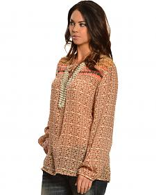 Red Ranch Women's Tan Bohemian Print Tie Blouse