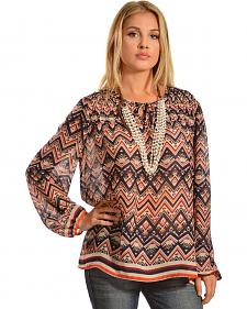 Red Ranch Women's Blue Chevron Tie Blouse
