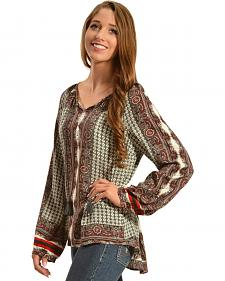 Red Ranch Women's Green Print Top