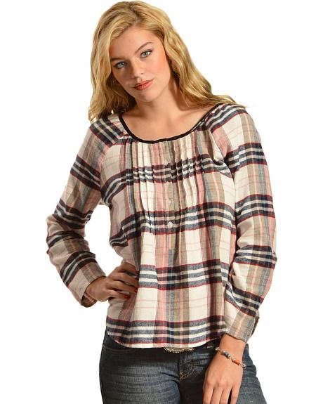 Red Ranch Multi-Color Plaid Pleather Trim Pleated Flannel Top