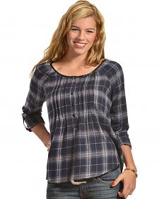 Red Ranch Blue Plaid Pleather Trim Pleated Flannel Top