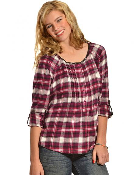 Red Ranch Plum Plaid Pleather Trim Pleated Flannel Top