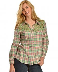 Red Ranch Women's Crochet Flannel Green Plaid Shirt