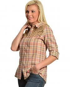 Red Ranch Women's Crochet Tan Plaid Flannel Shirt