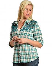 Red Ranch Women's Crochet Flannel Blue Plaid Long Sleeve Shirt