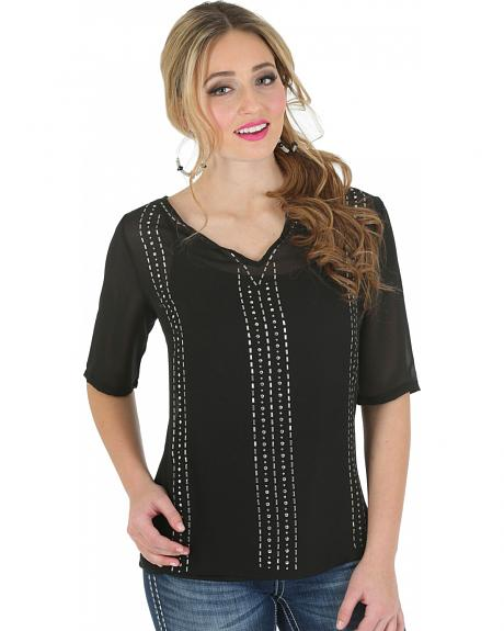 Wrangler Rock 47 Women's Half Sleeve Chiffon Top with Beading