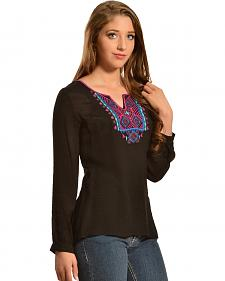 Red Ranch Women's Embroidered Black Tunic