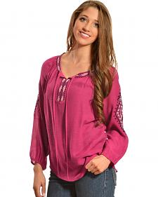Red Ranch Women's Embroidered Pink Tunic