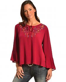 Red Ranch Embroidered Berry Top