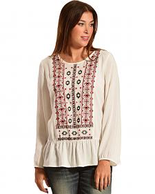 Red Ranch Women's Long Sleeve Embroidered Front Top