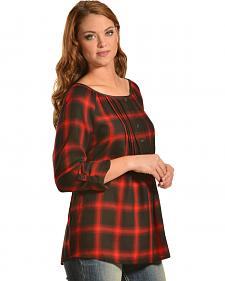 Red Ranch Red Plaid Pleather Trim Pleated Flannel Top