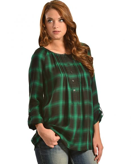 Red Ranch Green Plaid Pleather Trim Pleated Flannel Top
