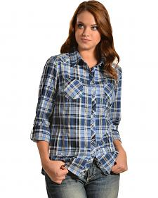 Red Ranch Women's Black Plaid Studded Two Pocket Shirt