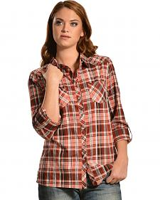 Red Ranch Women's Purple Plaid Studded Yoke Western Shirt