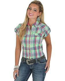 Wrangler Rock 47 Women's Short Sleeve Lime Plaid Studded Western Shirt