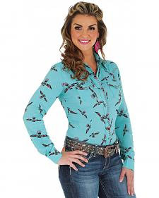 Wrangler Women's Turquoise Print Whipstitch Western Shirt