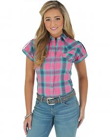 Wrangler Women's Pink Plaid Short Sleeve Shirt