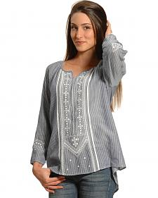New Direction Sport Women's Embroidered Striped Tunic