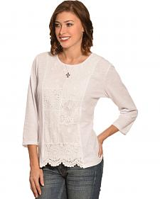 New Direction Sport Women's White Lace Print Scalloped Top