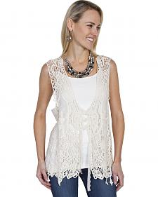 Scully Honey Creek Lace-Up Front Crochet Vest