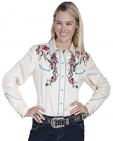 Scully Women's Colorful Horse Embroidered Long Sleeve Shirt