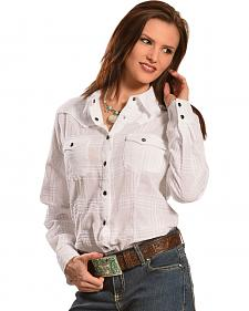 Red Ranch Women's White Tonal Plaid Western Shirt