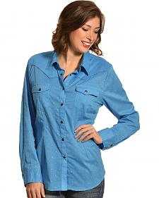 New Direction Sport Women's Blue Swiss Dot Long Sleeve Western Shirt