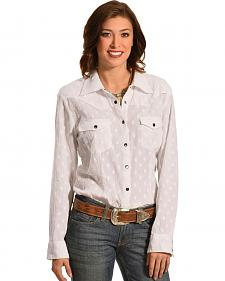 New Direction Sport Women's White Swiss Dot Long Sleeve Western Shirt