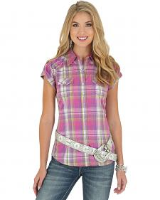 Wrangler Rock 47 Women's Short Sleeve Tab Plaid Shirt