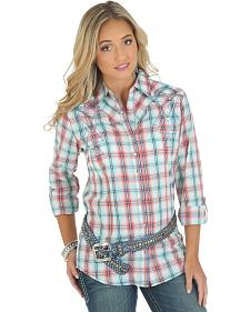 Wrangler Rock 47 Women's Long Sleeve Tab Plaid Shirt