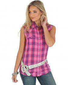 Wrangler Women's Heavy Stitching Sleeveless Plaid Shirt
