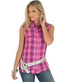 Wrangler Women's Heavy Stitching Sleeveless Plaid Shirt