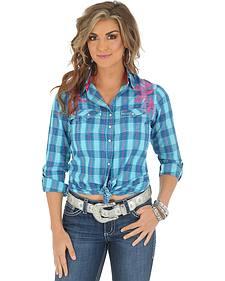 Wrangler Rock 47 Women's Turquoise Plaid Long Sleeve Shirt