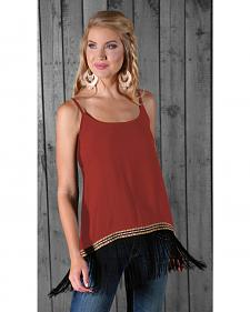 Wrangler Women's Sleeveless Fringe Tank Top