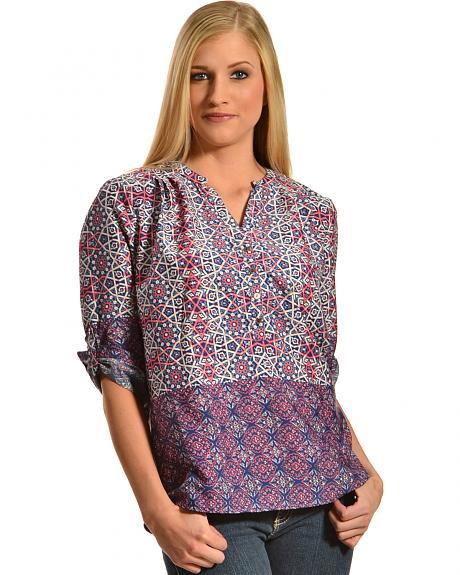 Tantrums Women's Roll Sleeve Printed Shirt