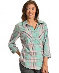 New Direction Sport Women's Pastel Plaid Two Pocket Western Shirt