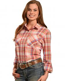 New Direction Sport Women's Pink Plaid Western Shirt