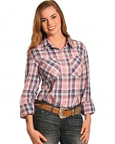 New Direction Sport Women's Plaid Western Shirt