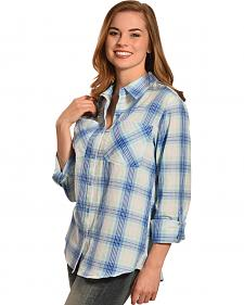 New Direction Sport Women's Blue Plaid Western Shirt