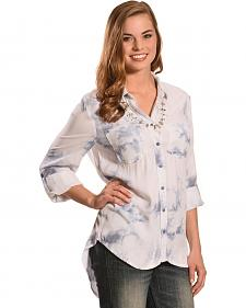 New Direction Sport Women's Blue Tie Dye Top